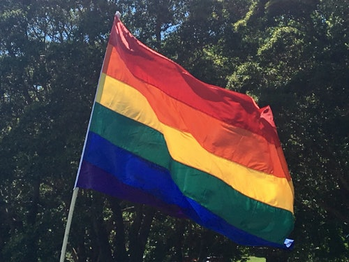 Yes to Marriage Equality in Sydney, rainbow flag